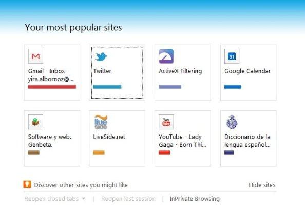 Internet Explorer 9 Nueva Pestaña